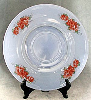 Vintage Blue Glass Plate with Red Roses (Image1)