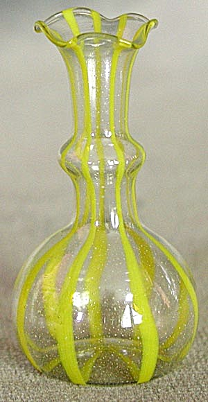 Vintage Yellow Miniature Glass Vase Vases At Silversnow Antiques