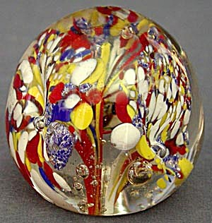 Vintage Red Yellow White and Blue Glass Paperweight (Image1)