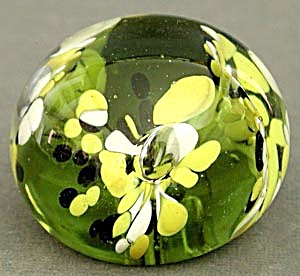 Vintage Olive Green Yellow White Glass Paperweight (Image1)