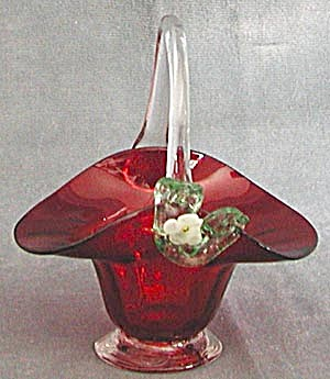 Vintage Red Glass Basket (Image1)