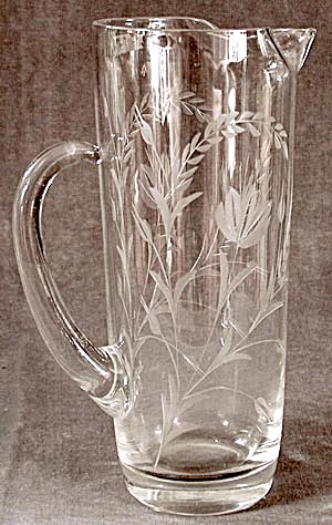 Vintage Glass Wheel Cut Pitcher (Image1)