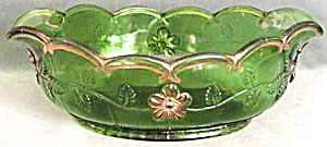 Panelled Dogwood Large Green Oval Bowl (Image1)