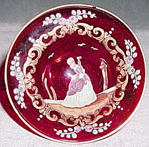 Vintage Ruby Red Enamel Dish