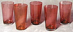 5 Vintage Cranberry Juice Glasses (Image1)