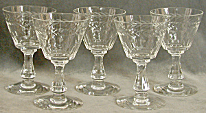 Vintage Glass Wheel Cut Set of 5 Glasses (Image1)