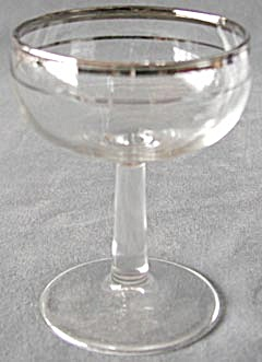 Champagne Silver Rim Glasses Set Of 7
