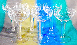 Vintage Cut Hollow Stem Champagne Glasses Set Of 6