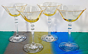 Vintage Yellow & Clear Stemware Set Of 4