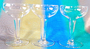 Vintage Hollow Stem Champagne Glasses Set Of 3