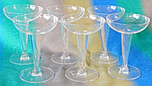 Vintage Hollow Stem Champagne Glasses Set Of 6