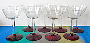 Art Deco Clear Striped & Red Base Stemware Set of 8 (Image1)