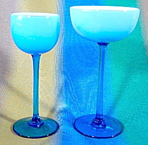 Cased Glass Aqua Exterior & White Interior Glasses
