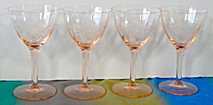 Wheel Cut Floral Pink Depression Glass Cordials Set 4