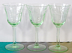 Wheel Cut Leaves Green Depression Glass Cordials Set 3