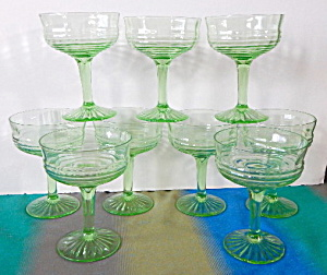 Deco Green Circle Stemware Set Of 9
