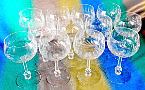 Vintage Cut Glass Goblets Set Of 12