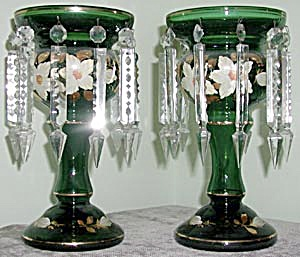 Pair of Hand Painted Emerald Green Glass Lusters (Image1)