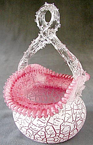 Vintage Pink & White Crackle Glass Basket (Image1)