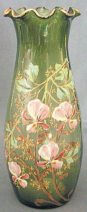 Vintage French Enamel Glass Large Vases With Orchids