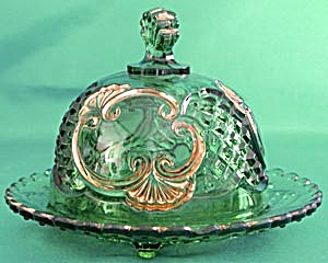 Antique Green & Gilt Croesus Butter Dish (Image1)
