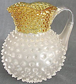 Frances Ware Hobnail Gold & Frosted Square Top Pitcher