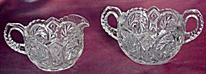 Vintage Pressed And Cut Creamer & Sugar