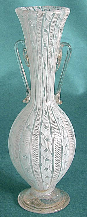 Vintage Venetian Powder Blue Glass Handled Vase
