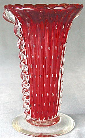 Vintage Glass Red and Clear Large Vase (Image1)