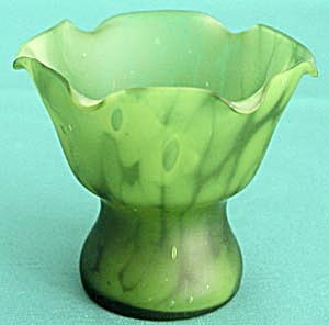 Vintage Small Green Satin Glass Vase (Image1)