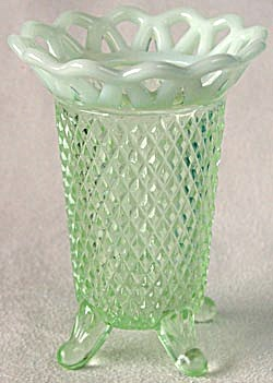 Vintage Green Imperial Laced Edge Vase (Image1)