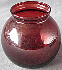 Vintage Ruby Red Glass Ivy Ball Vase (Image1)