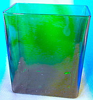 Vintage Rectangular Shape Green Glass Vase