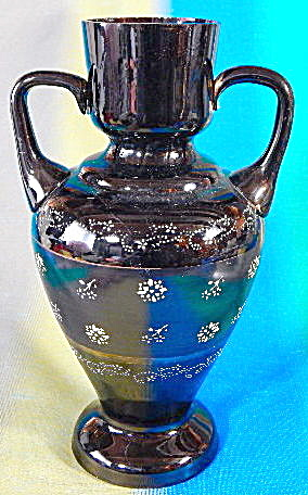 Vintage Enameled Black Amethyst Glass Vase