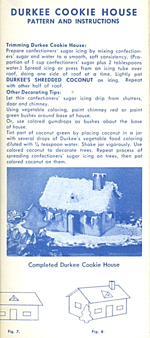 Vintage Durkee Cookie House Recipe Patern, Instructions (Image1)