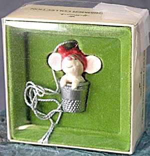 Vintage Hallmark Thimble Mouse In Thimble Ornament