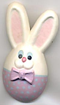 Hallmark Bunny Egghead Wearing Bow tie Pin (Image1)