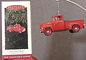 Hallmark 1956 Ford Cherry Red Truck Christmas Ornament (Image1)