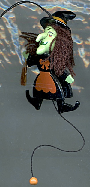 Vintage Painted Wood Witch Ornament