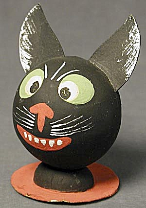 Vintage Black Cat Halloween Candy Container (Image1)