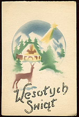 Vintage Christmas Card: Snow Scene with Deer (Image1)