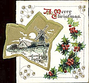 Vintage Christmas Card: Snow Scene with Wind Mill (Image1)