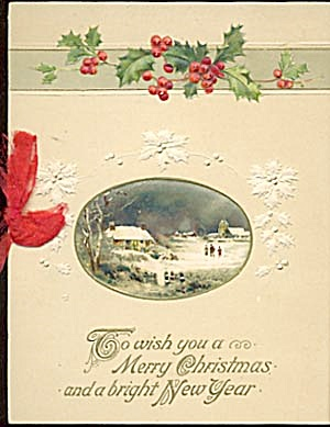 Vintage German Christmas Card: Holly Snow Scene (Image1)