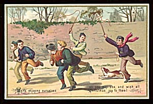 Vintage Christmas Card with Boys with Whips (Image1)