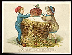 Vintage Christmas Card with Boy, Girl & Figgy Pudding (Image1)