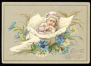 Vintage Christmas Card With Baby In Seashell