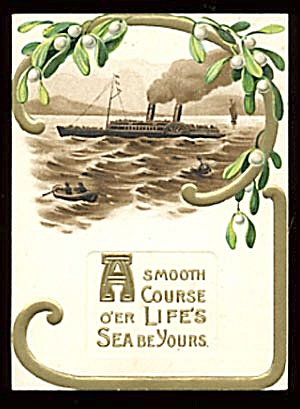 Vintage Christmas Card with Ship (Image1)