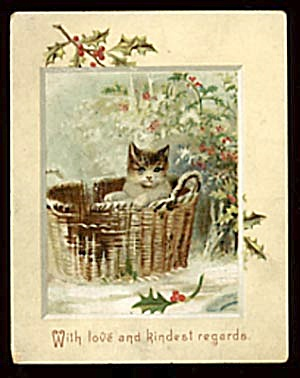 Vintage Christmas Card with Cat (Image1)