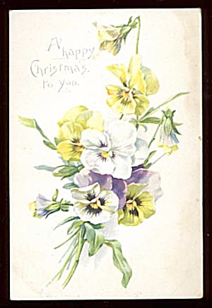 Vintage Christmas Cards with Flowers, Candle, Deer (Image1)