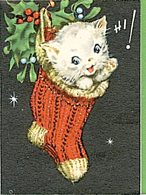 Vintage Kitten Christmas Card Christmas Books Cards Paper Items At Silversnow Antiques And More
